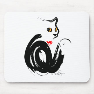 Black Cat 'n' Heart Mouse Pad