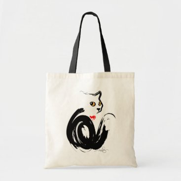 Valentines Themed Black Cat 'n' Heart Tote Bag