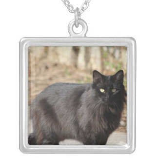 Black cat personalized necklace