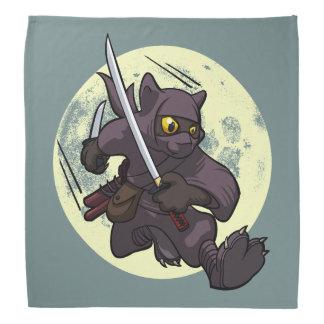 Black Cat Ninja Katana Swords Flying Kick Cartoon Bandana