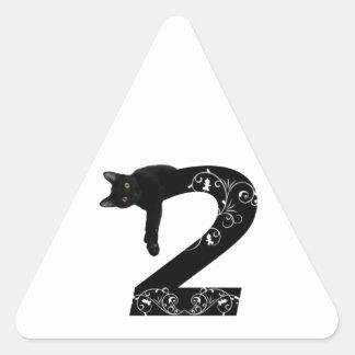 Black cat No.2 Triangle Sticker
