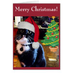 "Black Cat ""O Christmas Tree"" Card"