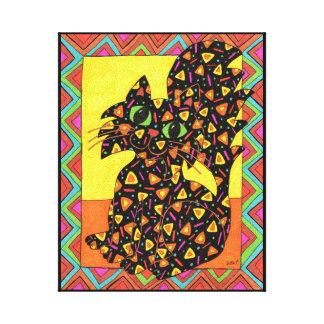 Black Cat Oaxacan Style Folk Art Canvas Print