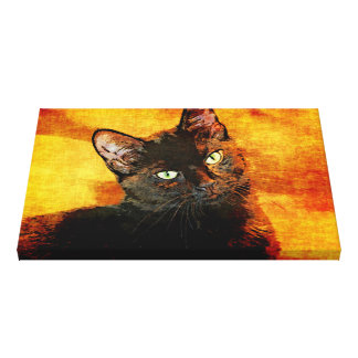 BLACK CAT OLIVE CANVAS PRINT