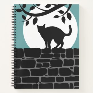 Black Cat on a Brick Wall Under a Full Moon Notebook