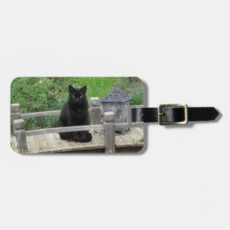 Black Cat on a Bridge Luggage Tag