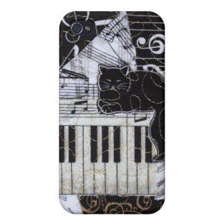 Black Cat on a Keyboard iPhone 4 Cases