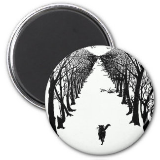 Black Cat on a Lonely Trail Artwork 2 Inch Round Magnet