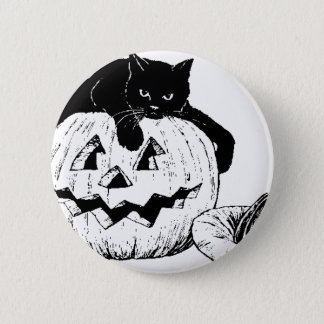 Black Cat On A Pumpkin Pinback Button