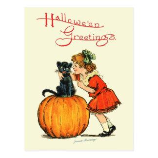 Black Cat on a Pumpkin Post Card