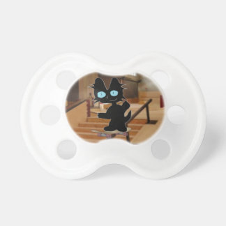 Black Cat On A Skateboard Baby Pacifier