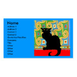 Black Cat on Abstract Double-Sided Standard Business Cards (Pack Of 100)