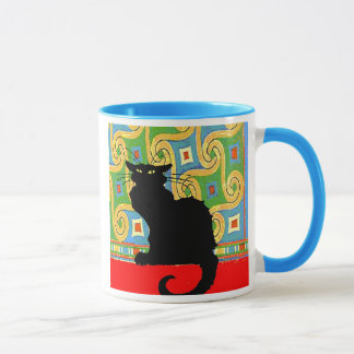 Black Cat on Abstract Wallpaper, Black Cat on A... Mug