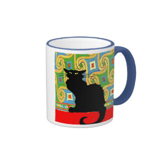 Black Cat on Abstract Wallpaper, Black Cat on A... Ringer Coffee Mug
