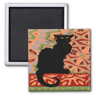 Black Cat on Abstract Wallpaper 2 Inch Square Magnet