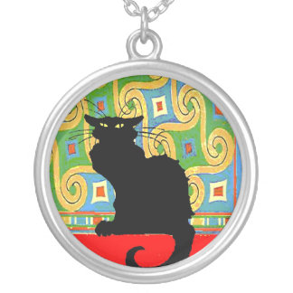 Black Cat on Abstract Wallpaper Custom Necklace