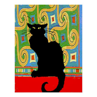 Black Cat on Abstract Wallpaper Poster