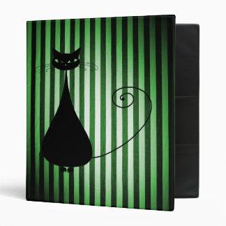 Black Cat on Black & Green Stripes Binder