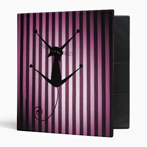 Black Cat on Black & Pink Stripes Binders