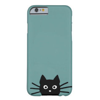 Black Cat on Blue (Color is Customizable) Barely There iPhone 6 Case