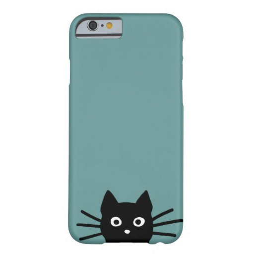 Black Cat on Blue (Color is Customizable) iPhone 6 Case
