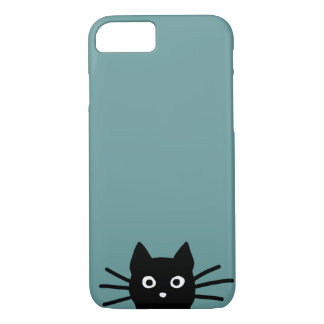 Black Cat on Blue (Color is Customizable) iPhone 8/7 Case