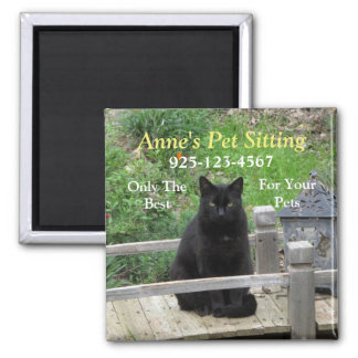 Black Cat on Bridge Customizable Business Magnet