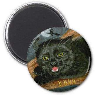 Black Cat on Broom Halloween Magnet