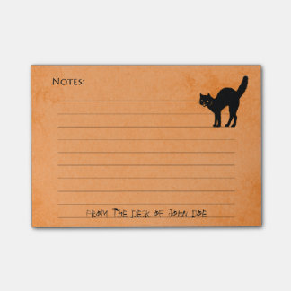 Black Cat on Custom Halloween Orange Note Pad: