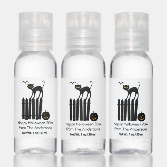 Black Cat on Fence Halloween Party Favors Hand Sanitizer
