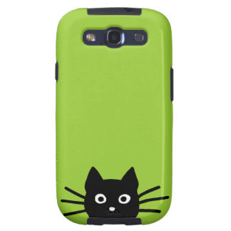 Black Cat on Green Color is Customizable Galaxy SIII Cases