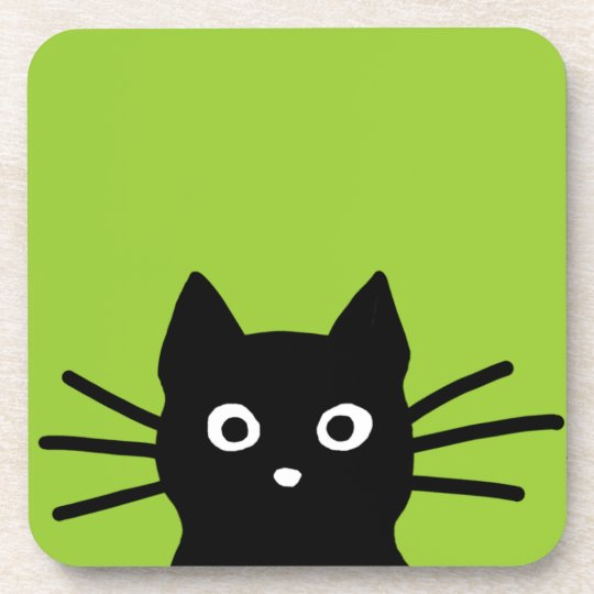 Black Cat on Green (Customizable Color) Coaster