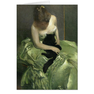 Black Cat on Green Gown Card
