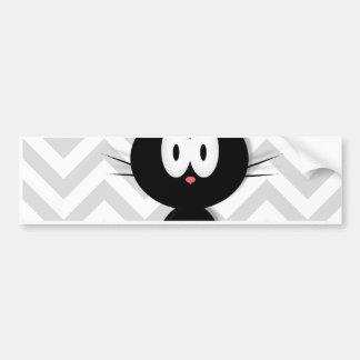 Black Cat on grey chevron Bumper Sticker