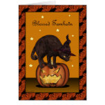 Black Cat on Jack-o-lantern Greeting Card