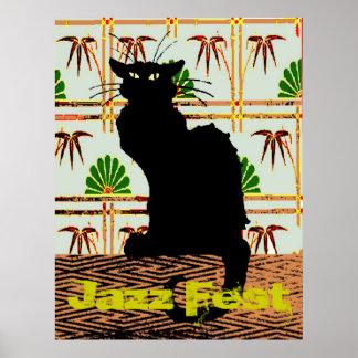 Black Cat on Japanese Wall Paper, Jazz Fest Print