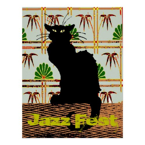 Black Cat on Japanese Wall Paper, Jazz Fest Poster