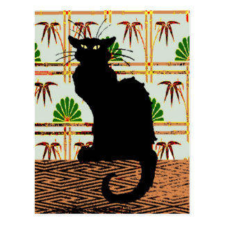 Black Cat on Japanese Wall Paper Postcard