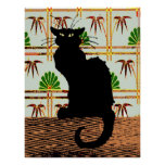 Black Cat on Japanese Wall Paper Posters