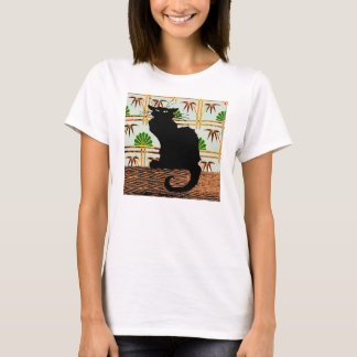 Black Cat on Japanese Wall Paper T-Shirt