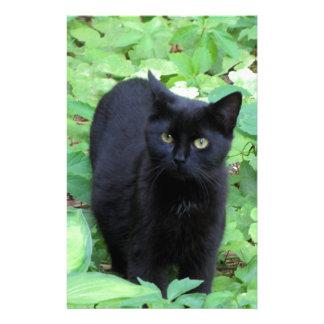 Black Cat on Lime Green plants Custom Stationery