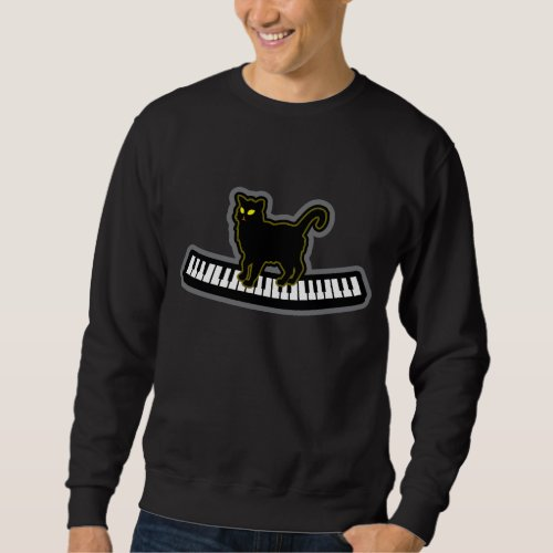 Black Cat On Musical Piano Keys Pianist composer Sweatshirt