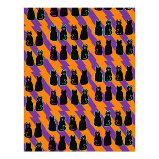Black cat on orange and purple stripes pages