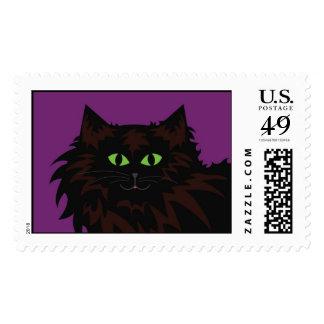Black Cat on Purple Postage