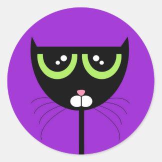 Black Cat on Purple - Sticker