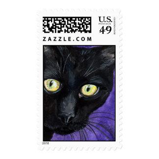 Black Cat on Purple Watercolour Illustration Postage Stamp
