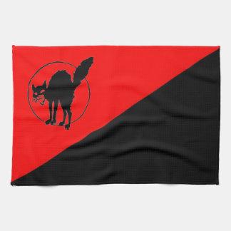 black cat on red & black flag format kitchen towel