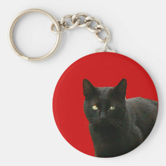 Black Cat on Red Keychain