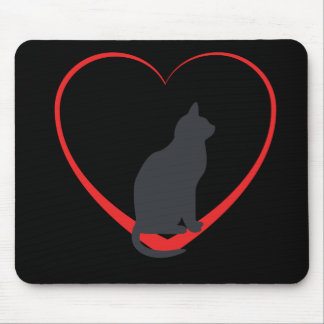 Black cat on red open heart, black background mouse pad