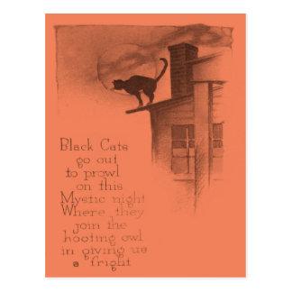 Black Cat On Roof Full Moon Postcard